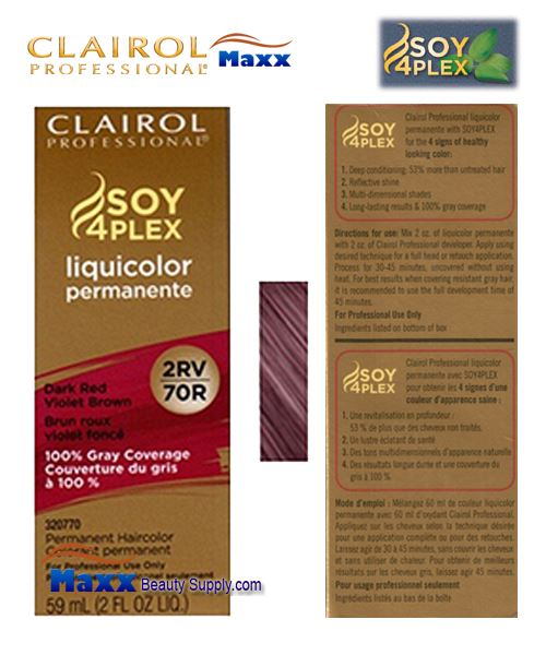 Clairol Soy 4Plex Liquicolor 2RV/70R - Dark Red Violet Brown 2oz