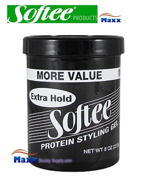 Softee Protein Styling Gel Extra Hold 08oz Black Jar