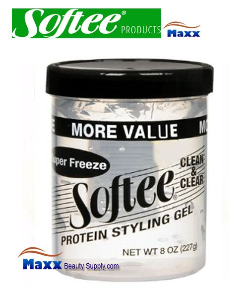 Softee Protein Styling Gel Super Freeze 08oz Clear Jar 1 59 Maxxbeautysupply Com Hair Wig Hair Extension Eyelashes Accessory Make Up Hair Styling Tools Hair Color Developer Hair